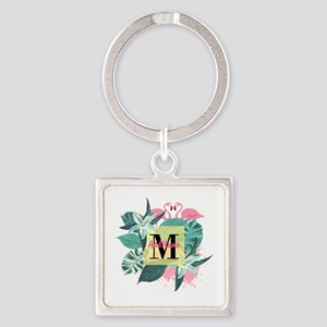 Personalized Flamingo Monogrammed Square Keychain