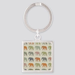 Elephant Colorful Repeating Pattern Deco Keychains