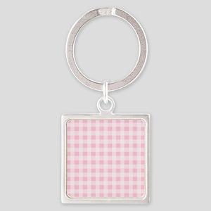 Pink Gingham Checkered Pattern Keychains