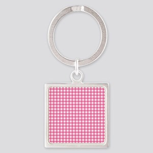 Pink Check Gingham Patterns Keychains