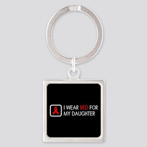Red Ribbon: Red for my Daughter Square Keychain