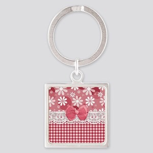 Pretty Pink Gingham Daisies Square Keychain