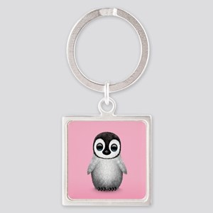Cute Baby Penguin on Pink Keychains