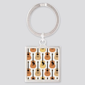 Acoustic Guitars Pattern Square Keychain