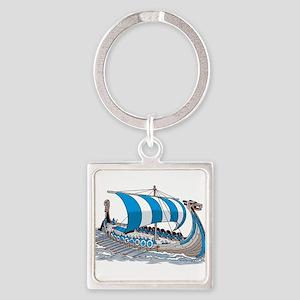 Blue Viking Ship Keychains