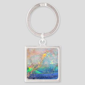 opal gemstone iridescent mineral b Square Keychain