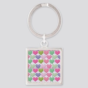 Gingham Hearts Pastel Pattern Square Keychain