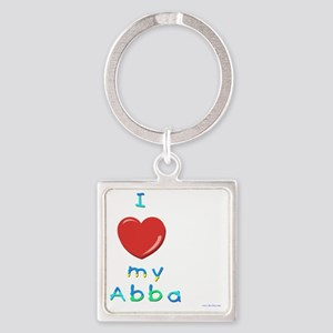 I love my abba Square Keychain