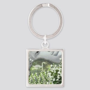 In the Garden - Quan Yin Flowers Square Keychain