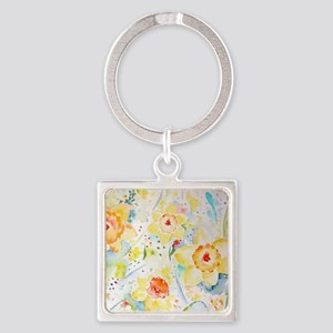 Watercolor yellow flowers daffodil Square Keychain