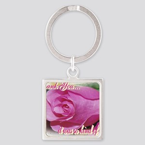 Rose Bud Thank You Square Keychain