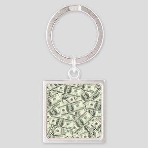 100 Dollar Bill Money Pattern Square Keychain