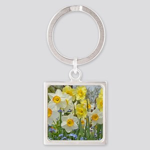 White and yellow daffodils Keychains
