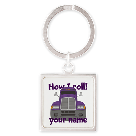 Personalized How I Roll Trucker Square Keychain