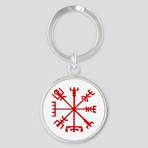 Blood Red Viking Compass : Vegvisir Keychains