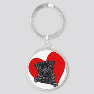 blkpug-art-red Round Keychain
