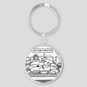 Yes? Can I Help You? Round Keychain