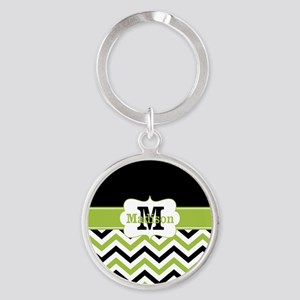 Black Lime Green Chevron Monogram Keychains