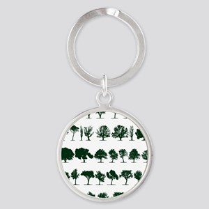 Tree Silhouettes Green 1 Round Keychain