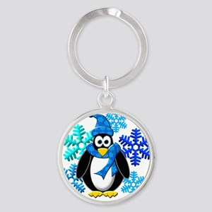 Penguin Snowflakes Winter Design Round Keychain