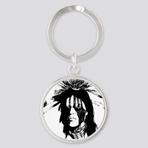 American Indian Warrior with Painte Round Keychain