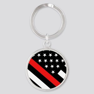 Firefighter Flag: Thin Red Line Round Keychain