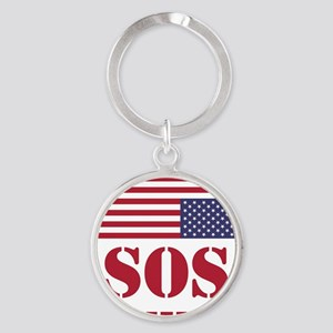 America SOS Round Keychain