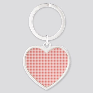 Coral Pink White Gingham Keychains