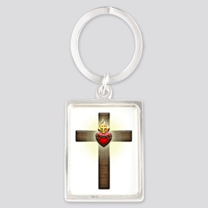 Sacred Heart of Jesus Cross Portrait Keychain