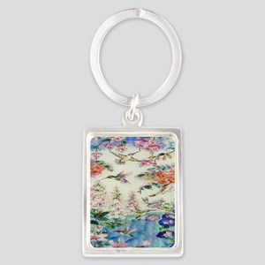 HUMMINGBIRDS_PAINTING_CANVAS_12B Portrait Keychain