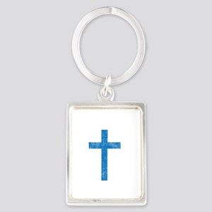 Pretty blue christian cross 1 U A Portrait Keychai
