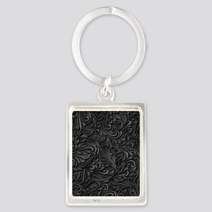 Black Flourish Portrait Keychain