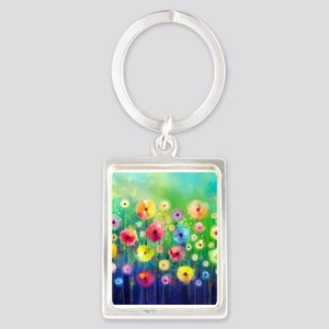 Watercolor Flowers Portrait Keychain