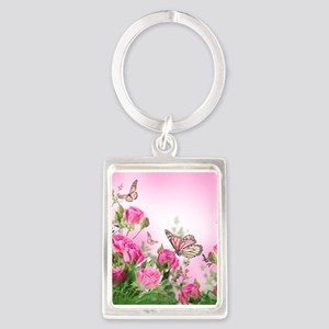 Butterfly Flowers Portrait Keychain