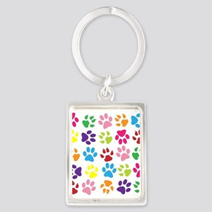 Multiple Rainbow Paw Print Design Keychains