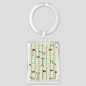 Hole in One Golf Equipment on Pl Portrait Keychain
