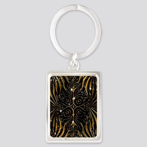 Black and Gold Victorian Sparkle Portrait Keychain