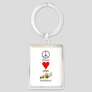 Peace Love Backhoes Portrait Keychain