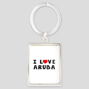 I Love Aruba Portrait Keychain