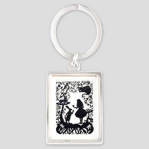 Alice in Wonderland Silhouette Portrait Keychain