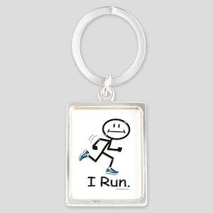Running Stick Figure Portrait Keychain