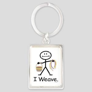 Basket Weaving Stick Figure Portrait Keychain
