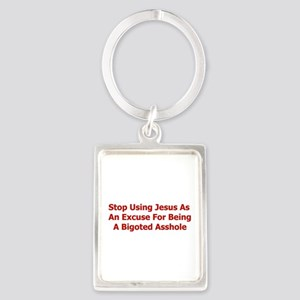 No Jesus Excuses Portrait Keychain