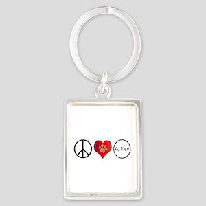 Peace Love Adopt Keychains