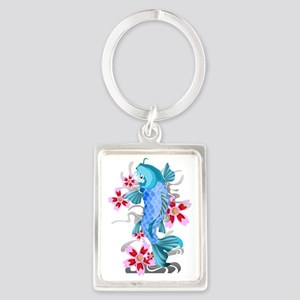Blue Koi Fish Portrait Keychain