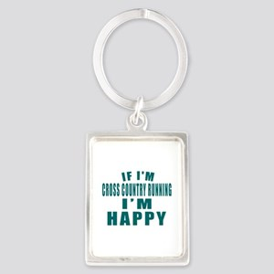 If I Am Cross Country Running Portrait Keychain