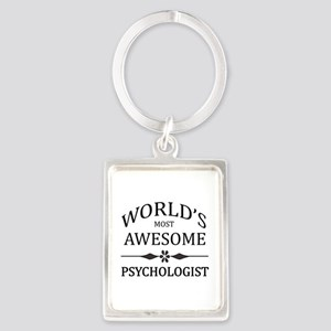 World's Most Awesome Psychologist Portrait Keychai