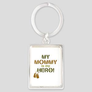 Dog Tag Hero Mommy Portrait Keychain