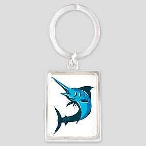 blue marlin fish jumping retro Portrait Keychain