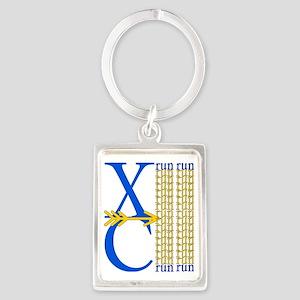 XC Run Blue Gold Portrait Keychain